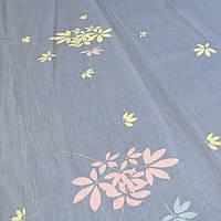 Сатин с нежными розовыми и желтыми цветами на голубом фоне, ширина 220 см, фото 1