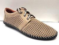 Мокасины летние мужские кожаные цвет: бежевый, оливковый 0446УКМ