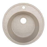 Гранитная мойка Platinum цвет карамель диаметр 51 см круглая