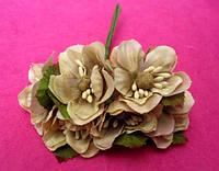 Цвет яблони из ткани упаковкой 72 шт Кофейные