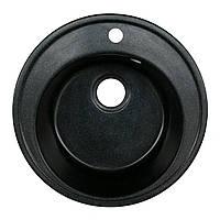 Гранитная мойка черная Platinum диаметр 51 см круглая