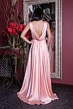 Длинное атласное платье нежно-розовое, фото 2