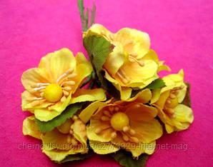 Цвіт яблуні з тканини уп. 72 шт. Жовтий