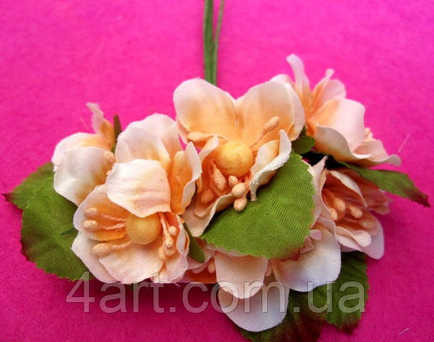 Цвет яблони из ткани уп. 72 шт. Персиковый
