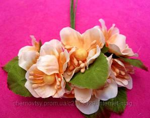 Цвіт яблуні з тканини уп. 72 шт. Персиковий