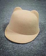 Детская фетровая шапка с козырьком и ушками Жокейка Бежевый