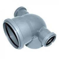 Отвод (колено) 110х50х50х90º с боковым выходом двухсторонний ПП Европласт для внутренней канализации серый