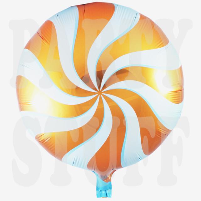 фольгированный шарик леденец оранжевый