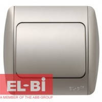 Выключатель 1-клавишный серый металлик EL-BI Zirve Silverline 501-011001-200