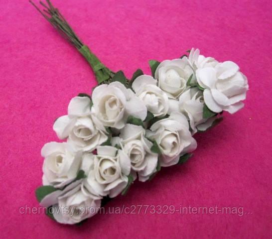 Розы бумажные уп. 144 шт. Белые