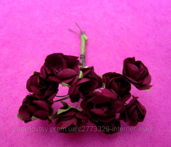 Розы бумажные уп. 144 шт. Бордовые