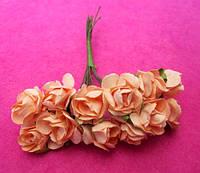 Розы бумажные упаковка 144 шт Персиковые