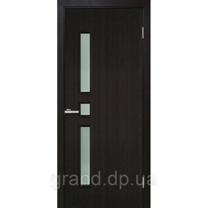 Двери межкомнатные Омис Комфорт ПО ПВХ, с матовым стеклом, цвет венге