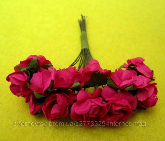 Розы бумажные уп. 144 шт. Малиновые