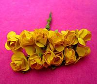 Розы бумажные упаковка 144 шт Желтые