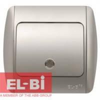 Выключатель 1-клавишный с подсветкой.LED серый металлик EL-BI Zirve Silverline 501-011001-201