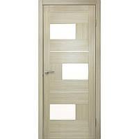 Двери межкомнатные Омис Куб ПО ПВХ с матовым стеклом, цвет дуб беленый