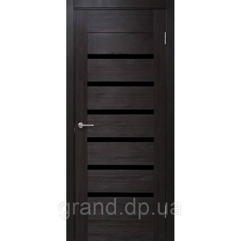 Двери межкомнатные Омис Лагуна ЧС ПВХ с черным стеклом, цвет венге