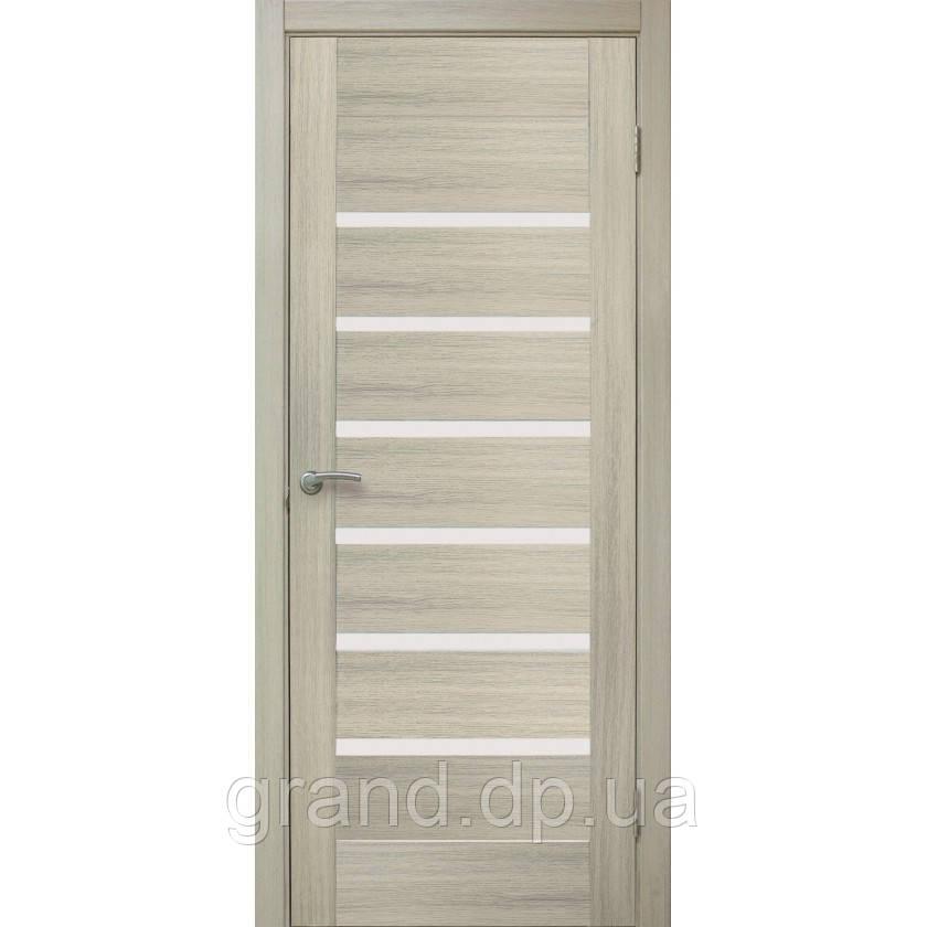Двери межкомнатные Омис Лагуна ПО ПВХ с матовым стеклом, цвет дуб беленый
