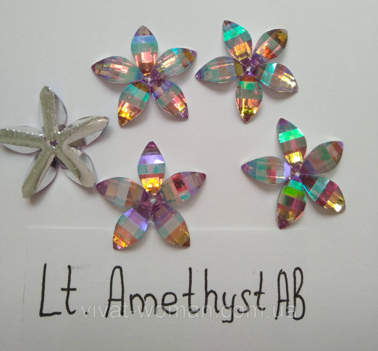 Стразы пришивные Цветок 18 мм Lt. Amethyst AB, смола (синтетическое стекло)