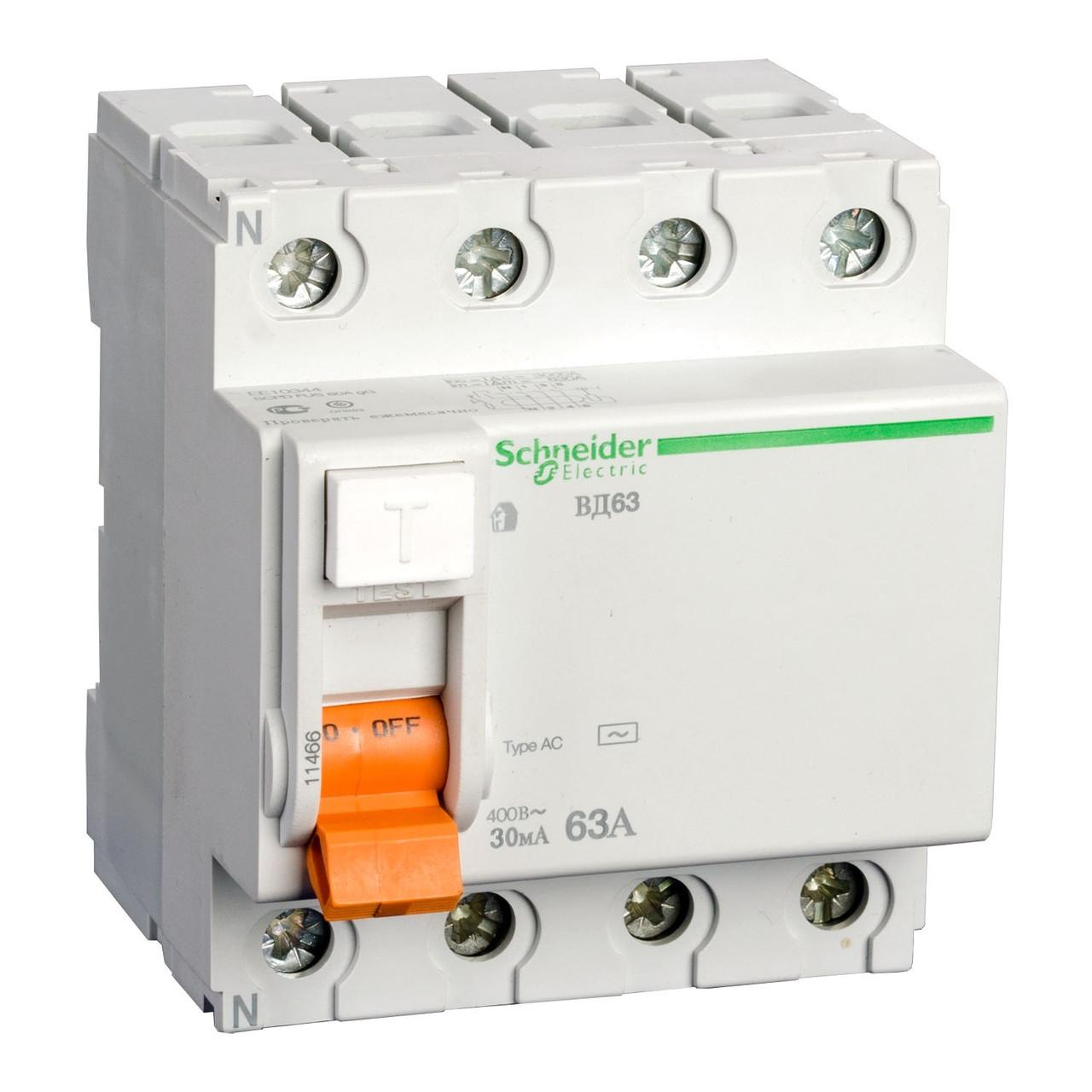Дифференциальное реле Schneider Electric 25A/30mA 4P