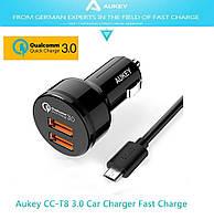 Aukey СС-Т8 - 2-х портовое автомобильное зарядное + Quick Charge 3.0