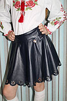 Юбка школьная для девочки из ЕКОкожи синяя, спідниця шкільна для дівчинки з ЕКОшкіри синя.