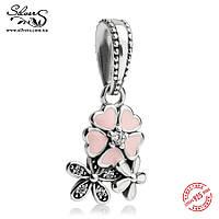 """Серебряная подвеска-шарм Пандора (Pandora) """"Цветочное настроение 874"""" для браслета"""