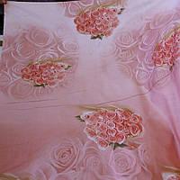 Сатин с букетами роз на розово-персиковом фоне, ширина 220 см, фото 1