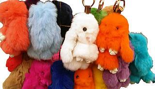 Брелок  на сумку или рюкзак, Меховой кролик, 15 см