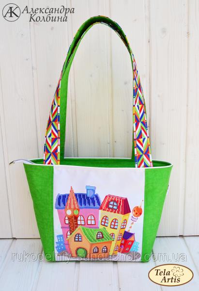 """Пошитая сумка для вышивки бисером Tela Artis """"Домики"""" СУ-006"""