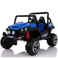 Детский двухместный электромобиль М 3454 EBLR-4: 4x4, 12V14A, 9 км/ч, EVA, кожа - СИНИЙ-купить оптом