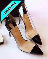 Туфли лодочки черные с силиконовыми вставками 35р