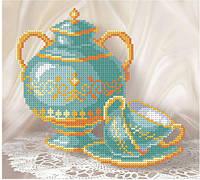 """Авторська канва """"Бірюзовий натюрморт"""" (Код: Т-0046)    20x18 см"""