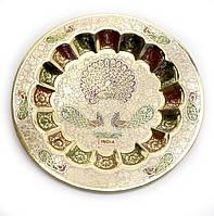 Тарелка настенная бронзовая Павлины