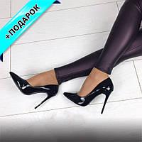 Туфли лодочки черные женские лаковые