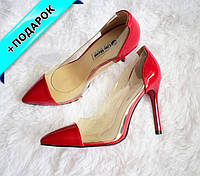 Красные туфли лодочки с силиконовыми вставками