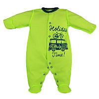 Человечек для новорожденного Holiday р. 56 тонкий ткань КУЛИР-ПИНЬЕ 100% хлопок ТМ ПаМаМа 3703 Салатовый