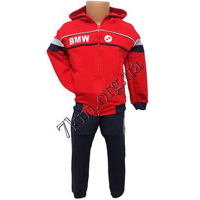 Спортивный костюм детский BMW для мальчиков 6-9 лет трикотажный красный Украина Оптом