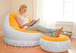Надувное велюровое кресло Intex 68572 с пуфом, фиолетовое, фото 2