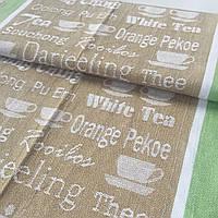 Льон рушникові кави коричневий з зеленим, ширина 48 см
