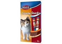 TRIXIE Creamy Snacks Жидкое лакомство для котов, лосось, птица+печень, 6х15г