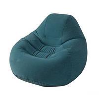 Надувное флокированное кресло Intex 68584, зеленое, фото 1