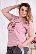 Женская стрейчевая футболка 0562 размер 42-74, фото 3