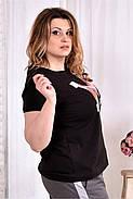 Женская стрейчевая футболка 0562 цвет черный размер 42-74, фото 3