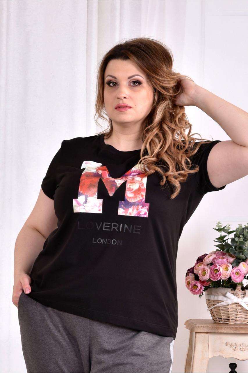 Женская стрейчевая футболка 0562 цвет черный размер 42-74
