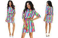 Короткое платье из штапеля яркое цветное