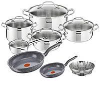 Набор кастрюль Tefal Uno 10 шт + 2 Сковороды Tefal 21/28 см + корзина для приготовления на пару