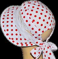 Шляпка Лиза белая в красные горохи