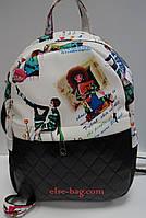 Молодежный рюкзак с цветным принтом белый с черным, фото 1